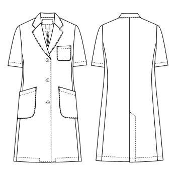 白衣ノーアイロン!女性ドクター用白衣ホワイト半袖ハーフ丈KEX5132【】