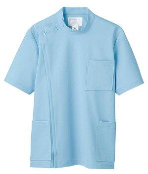 裏面素材使用/敏感肌にもおすすめ女子ケーシー型白衣半袖《ニット素材》