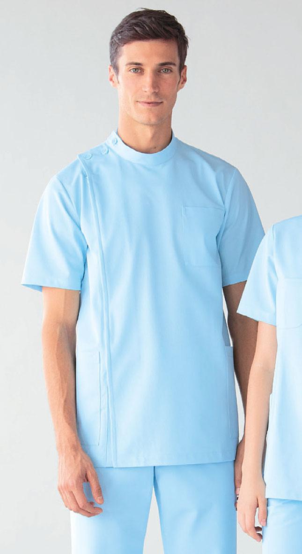 白衣 ニット素材だからお手入れ簡単男性用ケーシー型ドクター医務衣/半袖/サックス253-11【】