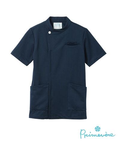 白衣 PHS用に重ポケット付きケーシー型ドクタージャケット半袖ネイビーSP/PT-402...