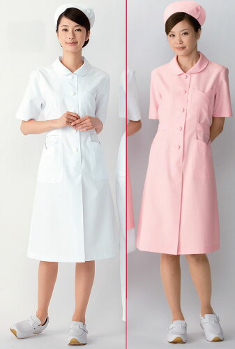 白衣 女性用、ナースのお仕事ワンピース白衣/ホワイト ピンクYW-10