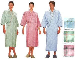 当店に各サイズとも若干数在庫がある場合がございます男性女性兼用患者衣(着物式)千鳥格子プ...