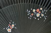 扇子さくら黒シルク100%【京都】母の日父の日誕生日ギフト結婚祝い