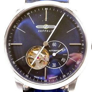 ()正規輸入品ツェッペリン腕時計FlatLineフラットラインネイビーレザーストラップ7364-3メンズ(自動巻)