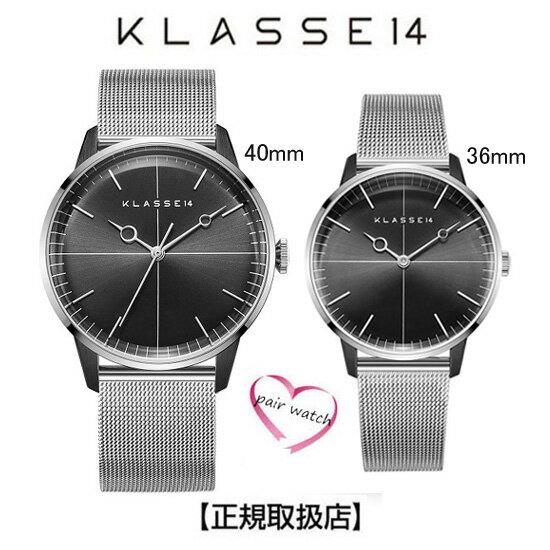 腕時計, ペアウォッチ 14 KLASSE14 40mm-36mm DISCO VOLANTE Silver Black with Mesh Strap WDI19SB001M WDI19SB001W