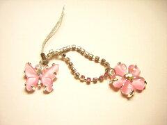 桜と蝶のきらきらストラップ