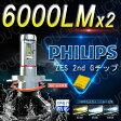 【車検対応】PHILIPS LEDヘッドライト オールインワン一体型 最新ZES チップ 6000LmX2 6500K(純白色) 細い発光 角度調整機能付き H4 Hi/Lo,H7,H8/H11,HB3(9005),HB4(9006) DC 12v/24v [YOUCM][2年保証付き}