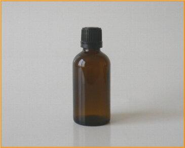 【アロマ】茶色硝子容器 AG−50 黒キャップ・ドロップ栓付