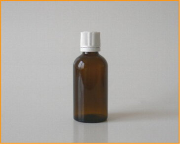 【アロマ】茶色硝子容器 AG−50 白キャップ・ドロップ栓付