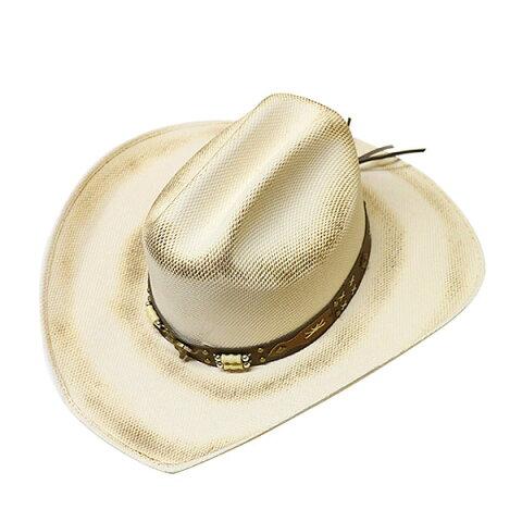 #320024ブルハイド(BULLHIDE)ストロー素材ウエスタンハット - ROCKIN' BULL/ロッキンブル メンズ レディース ストローハット 麦わら帽子 テンガロンハット 白 ホワイト アイボリー 生成り S M L XL 2839 ROCKIN' BULL 【RCP】