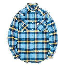 #152020RUDDOCK(ラドック)チェック柄ネルシャツウエスタンシャツ長袖シャツチェックシャツフランネルシャツメンズアメリカ産格子柄アメカジ青ブルーSML【RCP】