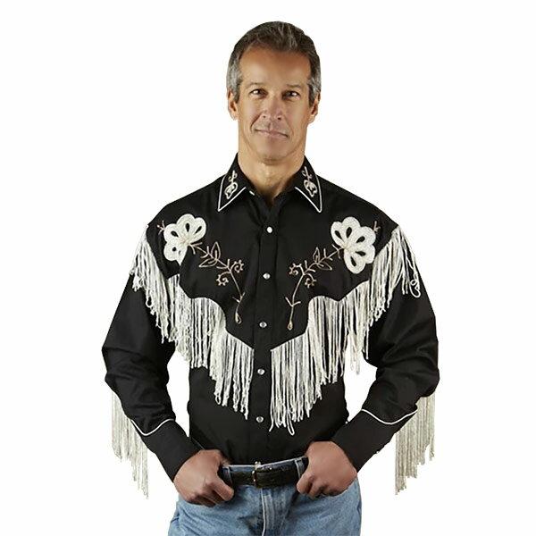 #902121ロックマウント Rockmount フリンジ付き フラワー刺繍 ウエスタンシャツ SP6723 BLK 14.5-16.5 S-L