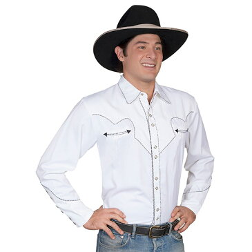 #912203スカリー Scully パイピング刺繍入り ウエスタンシャツ ホワイト P 726 WHT S-L
