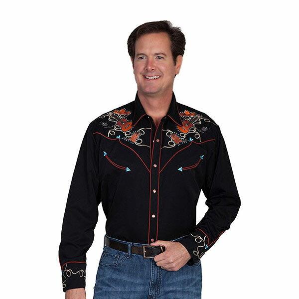 #912123スカリー(Scully)ウエスタン刺繍入りウエスタンシャツ - BOOTS HATS GUITERS EMBROIDERY SHIRT メンズ スマイリーポケット ウェスタンシャツ 長袖シャツ ステージ衣装 ロカビリー カントリー 黒 ブラック S M L XL P 842 BLK