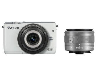 佳能數碼單反相機 EOS M10 創意宏雙鏡頭工具組 [類型︰ 無反光鏡圖元︰ 18500000 螢幕萬圖元 (總圖元) / 1800 萬圖片萬圖元 (有效圖元) 相機圖像設備︰ APS-C/22.3 x 14.9 毫米/CMOS 連續拍攝︰ 4.6 幀 / s 重量︰ 265 g]