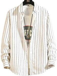 ラッキーチャーム スリムフィットシャツ メンズ 柄シャツ 長袖 ボタンダウン 冬用 ストライプ ワイシャツ シャツメンズ オシャレ カジュアル 夏 お兄 秋 アウトドア アメカジ フォーマル ビジネス 春秋 秋冬 男性(ホワイト, XL)