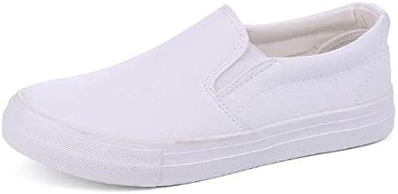 メンズ スリッポン PU レザー シューズ 革靴 カジュアル 軽量 25.5cm(ホワイト, 25.5 cm)