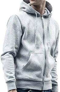 メンズ ジップアップ パーカー ジャケット ソリッドカラー M 4L 5L 大きいサイズ 男女兼用 男性用(グレー, LL)