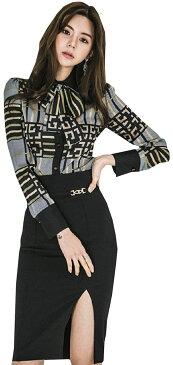 セットアップ フォーマル スーツ りぼん チェック シャツ 長袖 + タイト スカート ミニ 膝丈 スリット 柄 きれいめ ブラウス トップス キャバ 嬢 キャバクラ ドレス 上下 レディース(ブラック, XL)