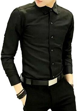 メンズ シャツ 長袖 カジュアル ワイシャツ 大きいサイズ 無地 ビジネス スリム(ブラック, 3XL)