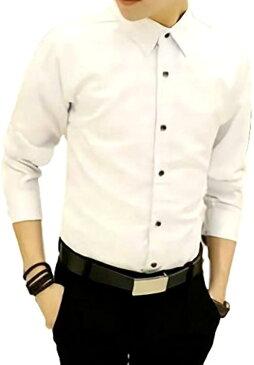 メンズ シャツ 長袖 カジュアル ワイシャツ 大きいサイズ 無地 ビジネス スリム(ホワイト, 6XL)