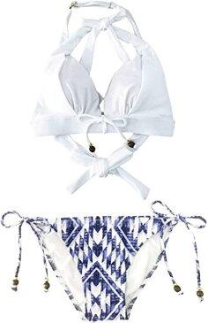 水着 ビキニ レディース クロスデザイン クロスビキニ 豊富なショーツ柄からセレクト可能 S675 I ホワイト × ブルーウィンド MDM(I ホワイト × ブルーウィンド, M)