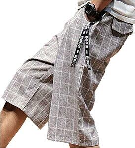 ビーコ 膝下 七分丈 チェック ショート ハーフ パンツ チャック 付き ポケット オシャレ カジュアル カッコいい 7分丈 メンズ(ブラウン, M)