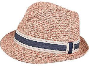 中折れ帽 ストローハット パナマハット 麦わら 帽子 ミックスペーパーハット パナマ帽 メンズ ピンク(04ピンク, フリー)