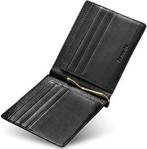 マネークリップ 出来るビジネスマンのための 薄くて軽いレザーマネークリップ メンズ ブラック x MDM(ブラック x ブラック)