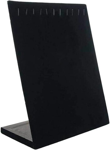 ネックレススタンド アクセサリー ディスプレイ ジュエリー スエード調 展示 収納 L型 展示台 1(ブラック)