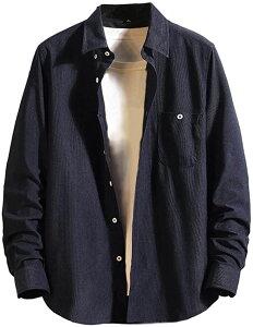 ラッキーチャーム XXL コーデュロイ ボタンダウン カジュアル シャツ メンズ 長袖 紺色 オシャレ アメカジ ボーイズ ファッション ウェア トップス スクール スタイリッシュ スリム ビジネス デザイン 登山 春(ネイビー, 2XL)