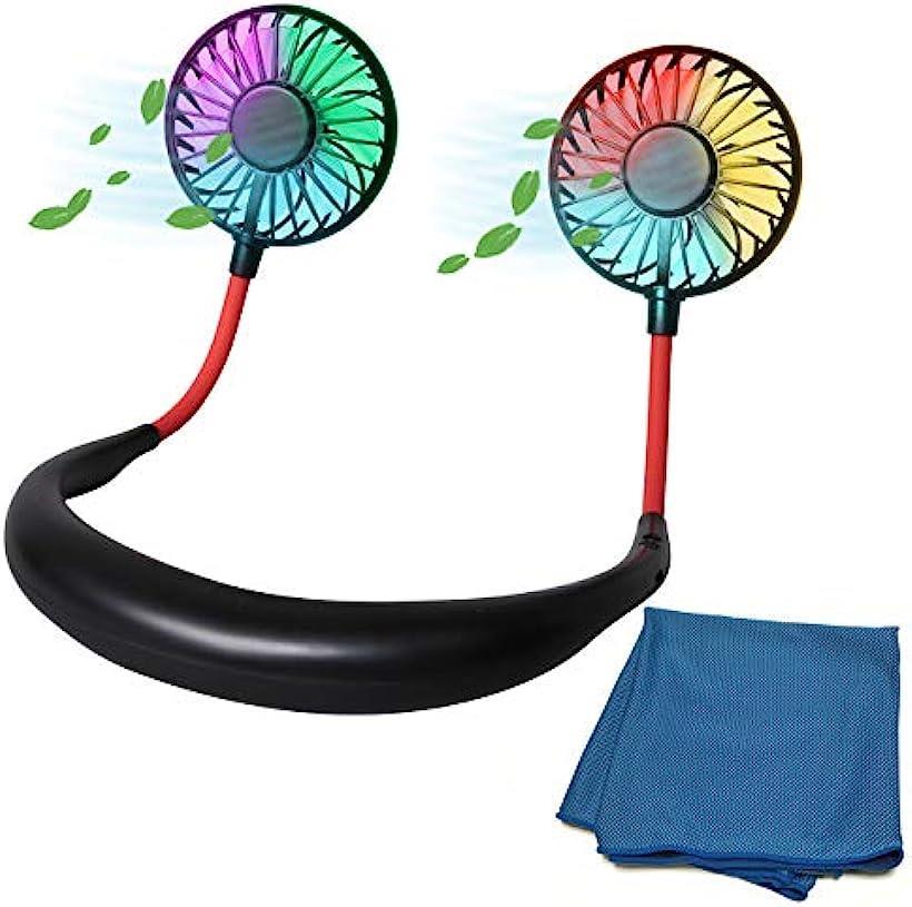 携帯扇風機 首かけタイプ USB充電式 ネックレスファン アイスタオル付き ハンズフリー 熱中症対策 ホットフラッシュ対策(ブラック, LED付)