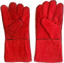 耐熱 グローブ 手袋 溶接 牛革 BBQ バーベキュー アウトドア オーブン グリル 薪ストーブ キャンプ 5本指(レッド)