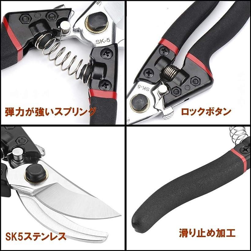 剪定ばさみ剪定鋏剪定バサミ園芸用はさみSK-5スチール刃安全ロック付き