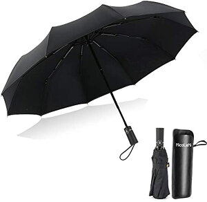 折りたたみ傘 自動開閉 二重構造 日傘 晴雨兼用 折り畳み傘 頑丈な10本骨 Teflon加工 耐風撥水 210T高強度 防災梅雨対策 メンズ&レディース傘 ビッグサイズ 傘ケース付き(ブラック)