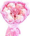 とこトン お祝い アニマル ブーケ ぬいぐるみ 結婚式 出産祝い プレゼント(6匹ブタ/ピンク)