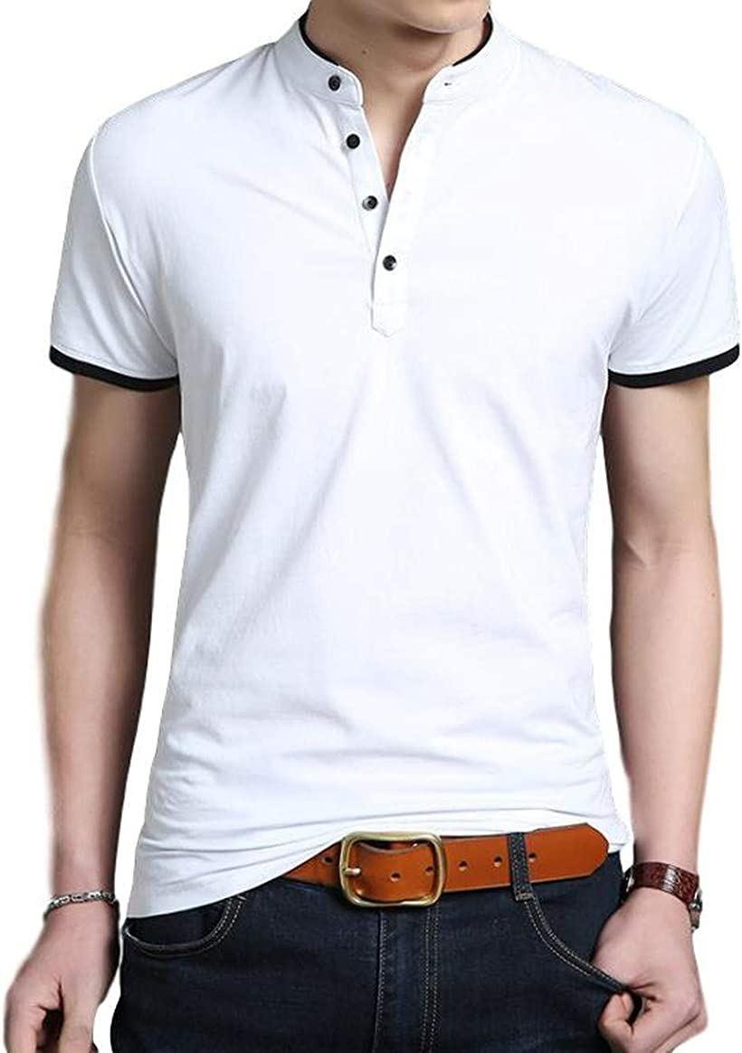 BEN070 WTM ポロシャツ Tシャツ メンズ 無地 半袖 丸首 カットソー オシャレ カジュアル 春 夏 トップス 綿 大きいサイズ きれいめ シンプル 丸襟 すっきり 通勤 通学 ボタン クルーネック かっこいい 白(ホワイト, M)