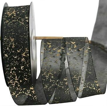 金粉雪リボン DIY ヘアアクセサリー 材料包装 バルーン 靴ひも 花ギフト ボックスリボン 10ヤード 約9.14m(黒色)