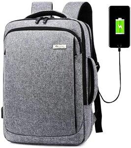 2020年 最新 ビジネスリュック USB充電ポート付き ビジネスバッグ 3way PCリュック 15.6インチ PCバッグ メンズ レディース 軽量 撥水加工(グレー)
