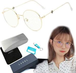 ラクル ブルーライトカット 丸メガネ 軽量 19グラム 伊達眼鏡 メンズ レディース 度なし UV 90%以上 サイドフラワーデザイン フレームゴールド 枠ゴールド(フレーム「ゴールド」 枠「ゴールド」)