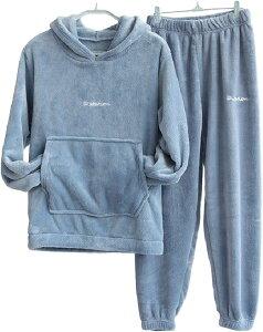 上下 セット パジャマ もこもこ ルームウェア レディース 裏起毛 パーカー あったか フード 付き 部屋着 防寒 冬 ルームウエア 家着 暖かい あったかい ふわふわ セットアップ 上下セット(ブルー, フリー(一般的なMLサイズ相当))