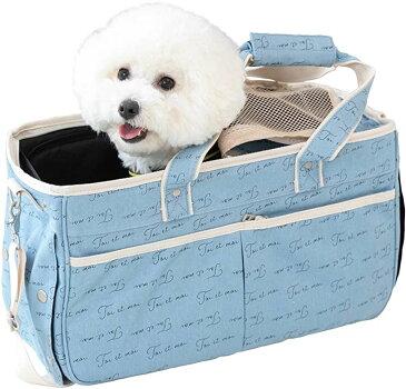 クロスマーベリー ペットキャリーバッグ キャンバス ペットトートバッグ 小型犬 顔出し 2way 通気性 PB01 Blue(ブルー)