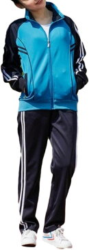 カナエルンジャージ 上下セット レディース スポーツウェア セットアップ ウオーキングウェア カラージャージ(ブルー, 155)
