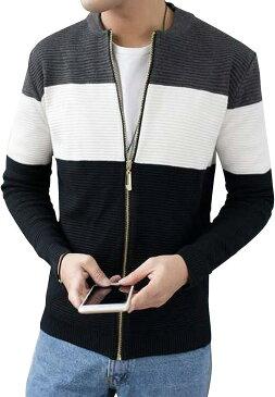 ニット カーディガン 春物 セーター 春服 ジップジャケット ボーダー(グレー, 2XL)
