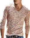 リーベシオン シンプル トップス カットソー ロング Tシャツ メンズ XXLsize,(コーヒー, 2XL)