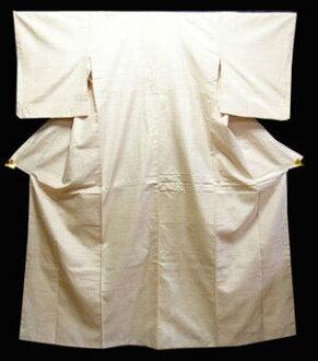 正絹紬きもの NO10 白地に赤の井桁絣柄