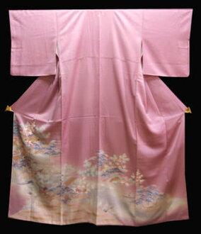 Pure silk colour tomesode kimono ( A) bright purple area landscape landscape design served
