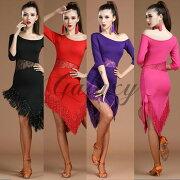ラテンダンス衣装社交ダンスワンピースフリンジ4色コスチューム舞台ステージ衣装hylk26