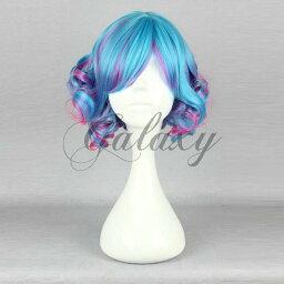 原宿ガール 可愛い ロリータ ブルー・パープル ショート 巻き髪 コスプレウィッグ wig-476a