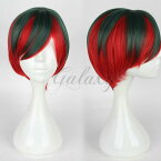 原宿ガール ボブヘア 斜め前髪 レッド混色 かわいい 耐熱 ショート ウィッグ wig-619d